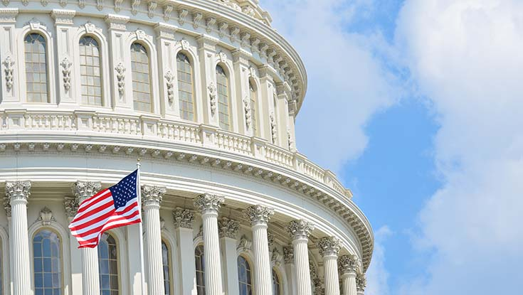 image of us captiol building with flag in foreground