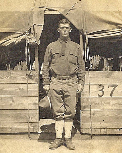 AARC Historian Trudy Watson's maternal grandfather at Camp Sheridan in Alabama in 1918.