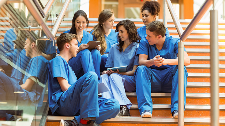 image pf medical students on staircase