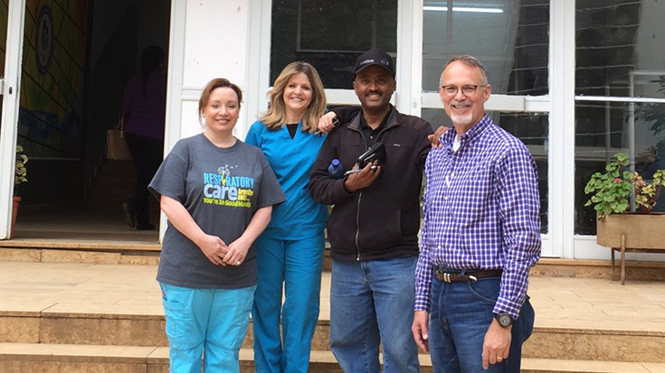 Becky Byrd, RRT, RRT-NPS, Karen Sawyer, RRT, RRT-NPS, Gashaw Tekele, RRT, and Phillip Platt, NNP-BC at St. Paul's Hospital Millennium Medical College (SPHMMC).